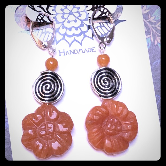 Floral Silver Spiral Earrings